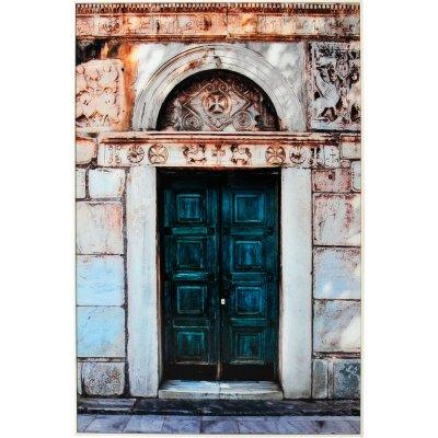 Glastavla Grön dörr - Vit ram