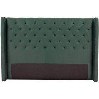 Almedal sänggavel med knappar (Smaragdgrön sammet) - Valfri bredd