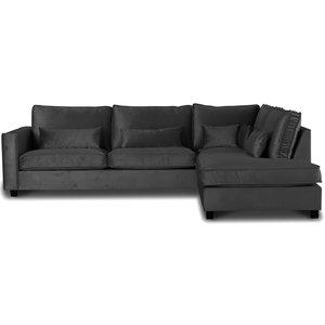 Adore Loungesoffa XL öppet avslut höger - Silvergrå (sammet)