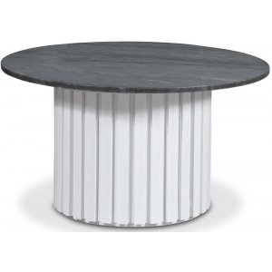 Sumo Soffbord Ø85 - Vitbetsad ek / Grå marmor