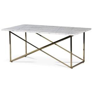 Paladium soffbord - Mässing / Äkta ljus marmor