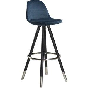 Orso barstol - Blå sammet med svart ben och krom