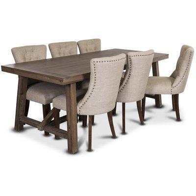 Colorado matgrupp, 200cm brunbetsat bord med 6 st Tuva Adele stolar i beige linneliknande tyg