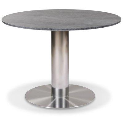 Next runt matbord D105 cm - Borstad stål / Marmor (Grå)