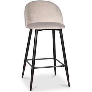 Giovani Velvet barstol - Ljusgrå sammet / Svarta ben