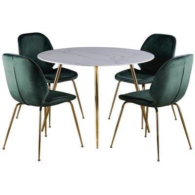 Deco matgrupp 110 cm runt bord + 4 st Deco stolar grön sammet / Mässing
