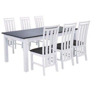 Skagen matgrupp - Bord inklusive 6 st stolar - Vit/Brun
