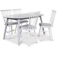 Göteborg matgrupp grått ovalt bord med 4 st Småland Pinnstolar - Grå / Vit