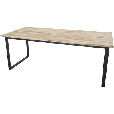 Matbord Regald 200 cm - Svart / Naturträ