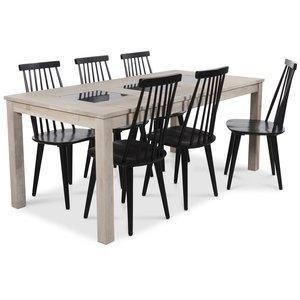 Jasmine matgrupp med bord i whitewash och 6 st svarta Dalsland pinnstolar
