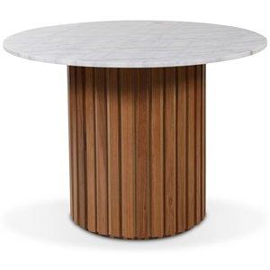 Matisse runt matbord i marmor D105 cm - Ek / marmor (Vit)