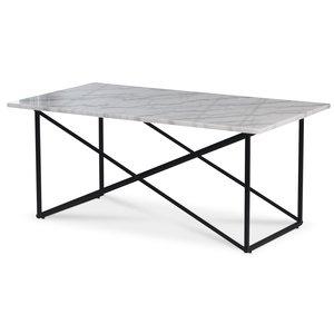 Paladium soffbord - Svart / Äkta ljus marmor