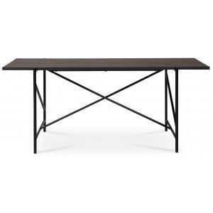 Portland matbord 180 cm - mörkbrun betsad ek/svart