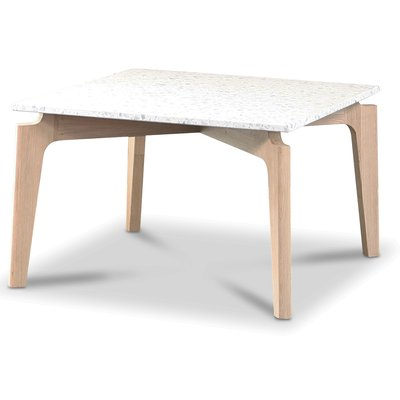 Terrazzo soffbord 75x75cm - Bianco Terrazzo & underrede white washed oak