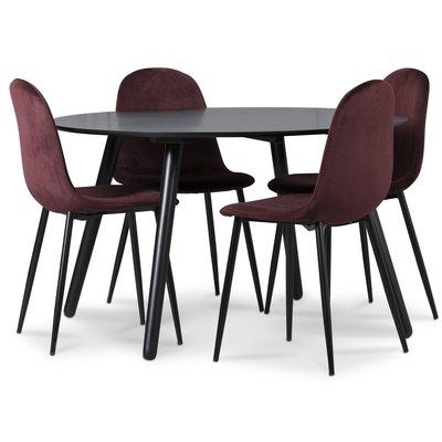 Rosvik matgrupp, matbord med 4 st Carisma sammetsstolar - Bordeaux/Svart