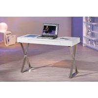 Grace skrivbord - Vit/Krom