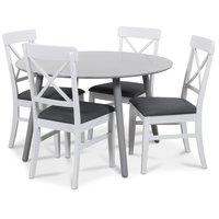 Rosvik matgrupp grått runt bord med 4 st Elisa stolar