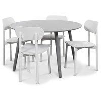 Rosvik matgrupp grått runt bord med 4 st vita Alvaro matstolar