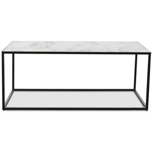 Sevilla soffbord rektangulärt - Svart/Marmorimitation