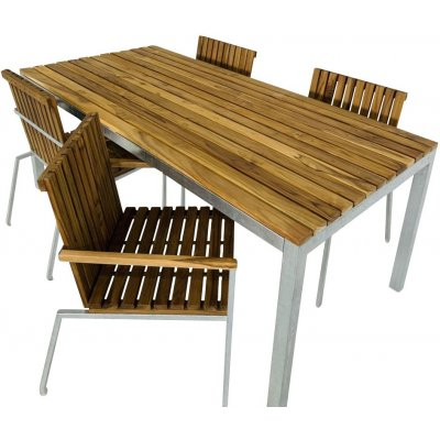 Alva matgrupp 190x90 cm inkl. 4 stolar - Teak/galvaniserad metall