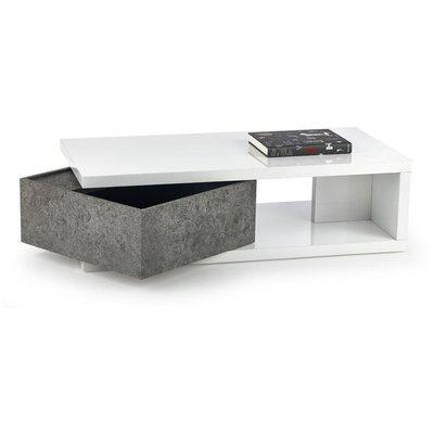 Milana soffbord med förvaring - Vit/betongmönster