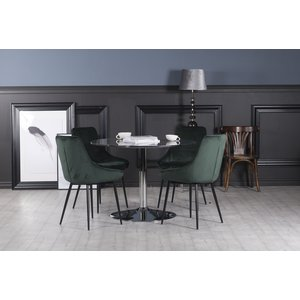 Plaza matgrupp, marmorbord med 4 st Theo sammetsstolar - Grön/Grå/Krom