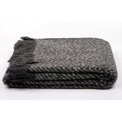 Pläd melerad - Svart/grå - 130x170 cm