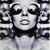 Glastavla Woman with sunglasses - Glas