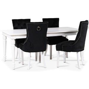 Paris matgrupp vitt bord med 4 st Tuva Decotique stolar i svart sammet med rygghandtag