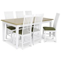 Ramnäs matgrupp - Bord inklusive 6 st Vindö stolar med grön sits- Vit/ekbets