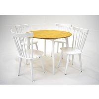 Sarek matgrupp - Bord inklusive 4 st stolar - Vit / ek