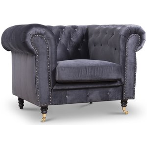 Sheffield Chesterfield Fåtölj - Grå (Sammet)