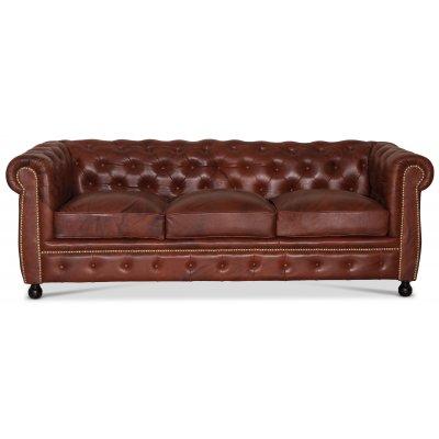 Chesterfield Old England 3-sits soffa - antikbehandlat skinn