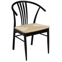 Casper stol - Svart lack / Flätad sits