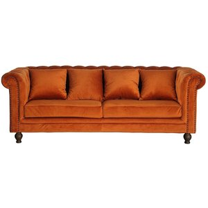 Chesterfield 3-sits soffa Churchill - Orange Sammet