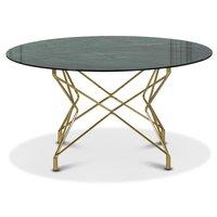 Soffbord Star 90 cm - Grönt marmorerat glas / mässingsfärgat underrede