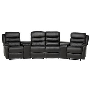 Chicago biosoffa med 4 recliner och hållare - Svart skinn