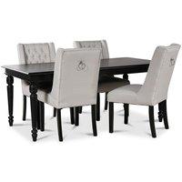 Paris matgrupp svart bord med 4 st Windsor stolar i beige tyg med rygghandtag