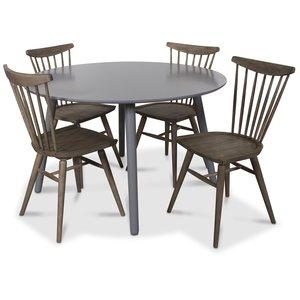 Rosvik matgrupp runt grått matbord med 4 st Thor pinnstolar Grått Vintage