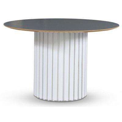 Empire matbord - Perstorp mörk virrvarv 118 cm / Vit lamell träfot