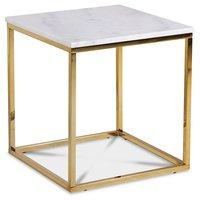 Accent soffbord 50 - Vit marmor / Blank mässing