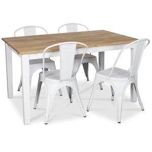 Österlen matgrupp, Klassiskt 140 cm matbord i vit/ek med 4 st vita metallstolar