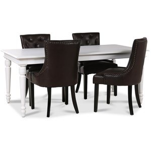 Paris matgrupp vitt bord med 4 st Tuva Eastport stolar i brunt PU