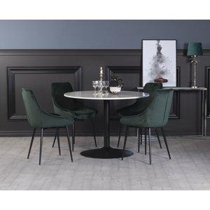 Plaza matgrupp, marmorbord med 4 st Theo sammetsstolar - Grön/Vit/Svart