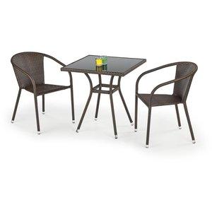 Benin matbord 70 cm - Mörkbrun konstrotting