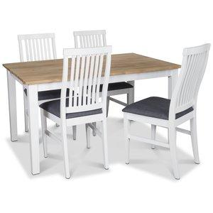 Österlen matgrupp, Klassiskt 140 cm matbord i vit/ek med 4 st Kivik matstolar med grå tygsits