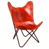 Fladdermusfåtölj Baltimore - Rödbrunt mönsterarbetat läder