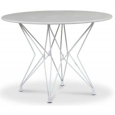 Zoo matbord Ø105 cm - Vit / Terrazzo Bianco