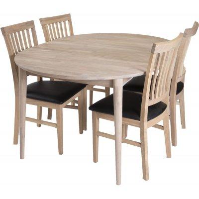 Odense matgrupp inkl. 4 st Luleå stolar - Vitoljad ek/Svart PU