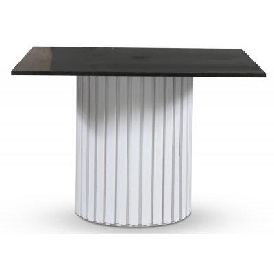 Empire matbord - Granit 90x90 cm / Vit lamell träfot